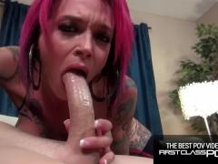 Tattooed Redhead loves to suck monster cock, Anna Bell Peaks - FirstClassPOV