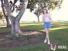 Real Teens - New girl Addee public flashing & masturbation