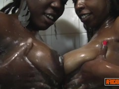 2 Horny Ebony Babes from Ghana Kiss and Lick In Shower