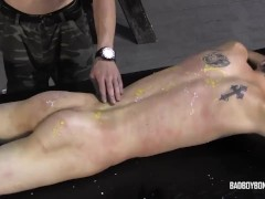 BadBoyBondage - Helpless young twink sucks cock takes BDSM whipping torment