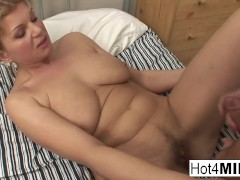 Busty MILF gets her hairy pussy and ass fucked