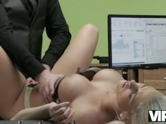 VIP4K. Delicate blonde lassie copulates with stranger for cash