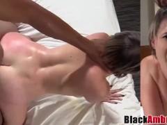 Curvy Cara sunbathes before BBC ambush banging and cumshot