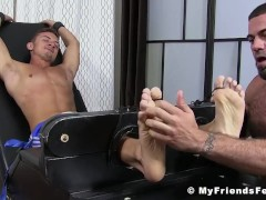 Ricky Larkin tickling restrained young cuties perfect soles
