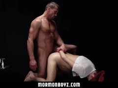 MormonBoyz - Intense muscle daddy priest blindfolds and barebacks misbehaving missionary
