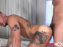 RAWHOLE Inked Joao Miguel Raw Fucked By Hung Brazilian Stud