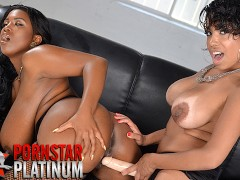 Havana Ginger and Maserati fuck with a strapon dildo