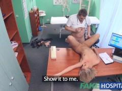 Fake Hospital Petite blonde deepthroats a thick dick before rough fuck
