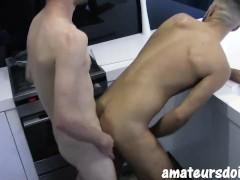 AmateursDoIt - Monster cock stud fucks hairy jock in kitchen before cumshot