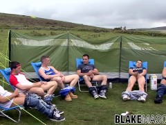 British studs take their dicks out during outdoor picnic
