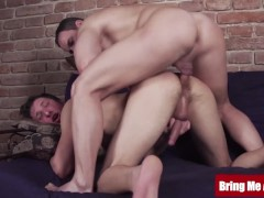 Muscular daddy massages and barebacks young twink gay