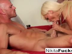 Russian Milf Nikita Von James takes a big dick before eating his cum