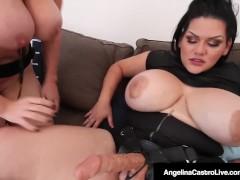 Cuban BBW Angelina Castro StrapOn Fucks PAWG Milf Sara Jay!