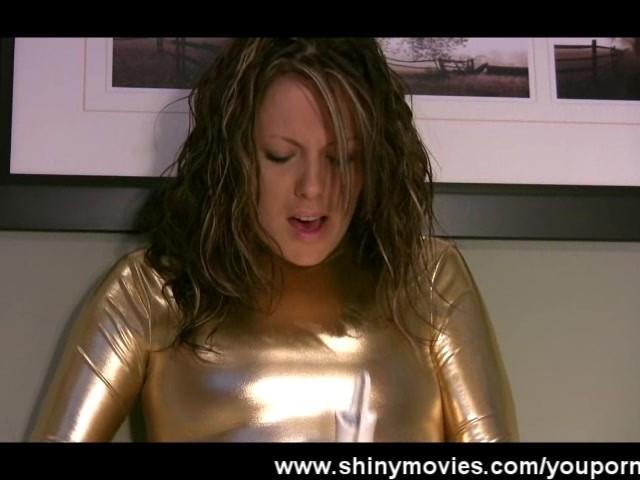 golden-spandex-bodysuit-masturbation