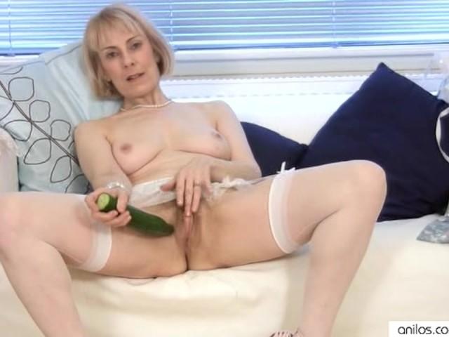 Granny fucks cucumber