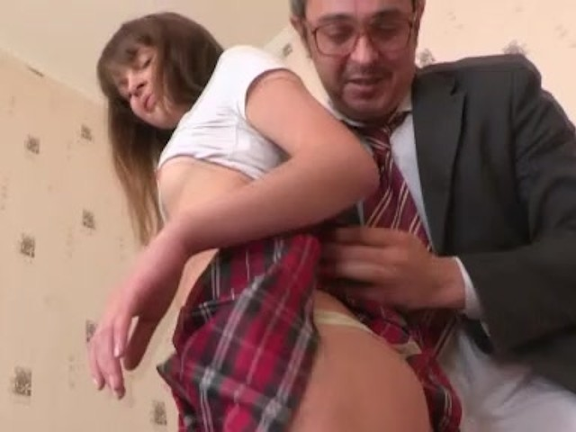 Tricky Old Teacher Enjoys A Shaved Pussy Of His Teen -8843