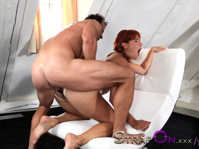 Strapon mature women taking dp with a vibrating cockring strap on 7