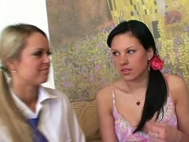 Old czech lesbian teacher teaches her teen students first lesbian sex