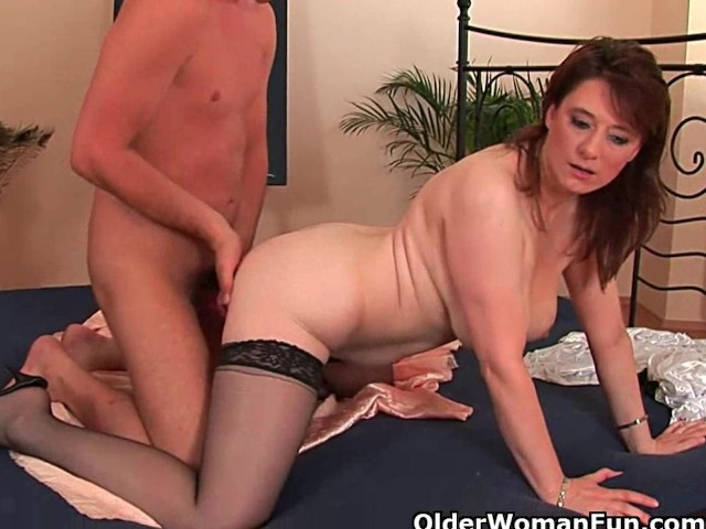 Busty older woman unloads a cock in her face 2