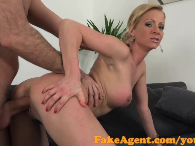 image Fakeagent blonde babe swallows spunk in saucy casting interview