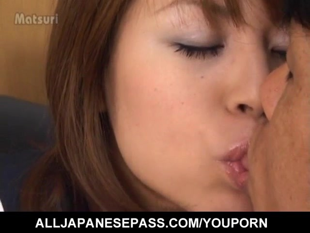 Rua Mochizuki in uniform sucks cock and fills her mouth with cum #1183772