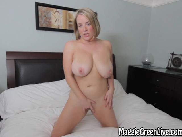 All natural maggie green shakes her big tits 3