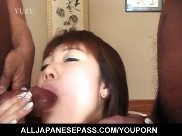 Tomomi and other dame suck and ride two dongs 9