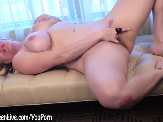 image Busty maggie green cums from big glass dildo