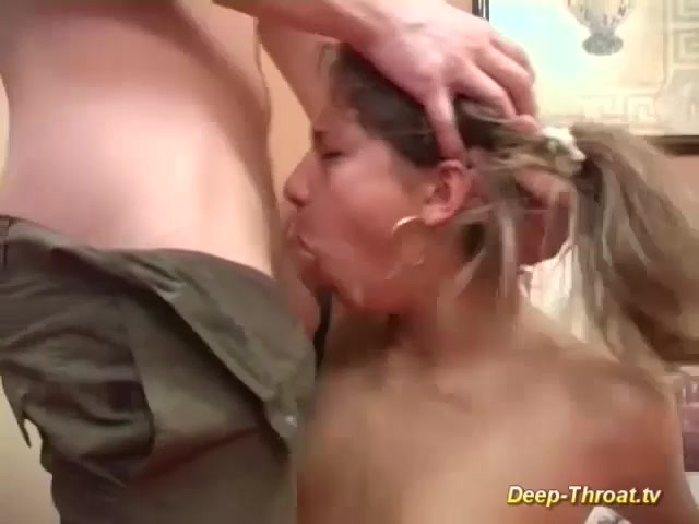 Excellent Her first deepthroat slutload