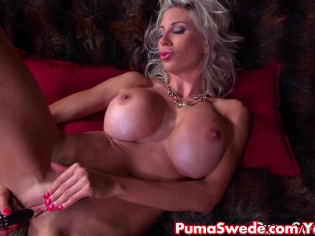 European blonde puma swede fucks pussy with glass dildo 5