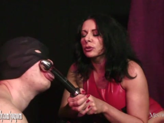 Horny mistress fucks her wet pussy with steel cock then toys slaves tight ass #1146011