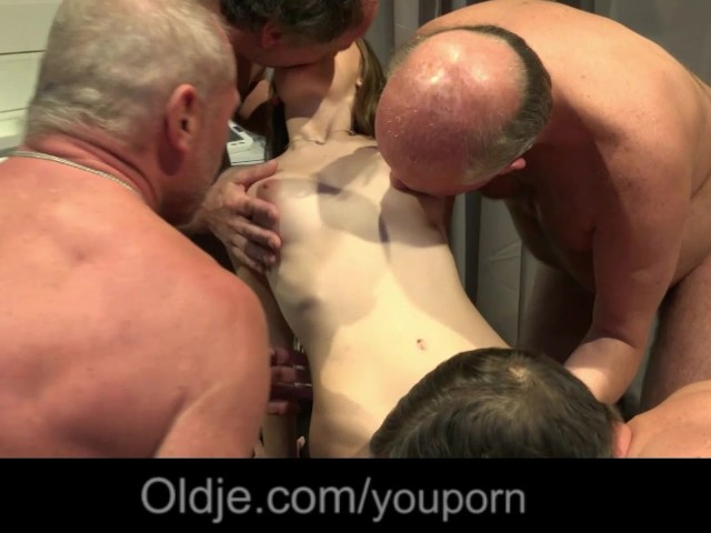 Slutty Teen Nurse Fucked Good in Gangbang Meeting of 5 Old Doctors