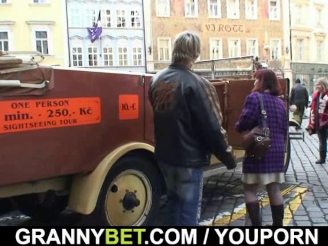 He picks up old granny bitch from street