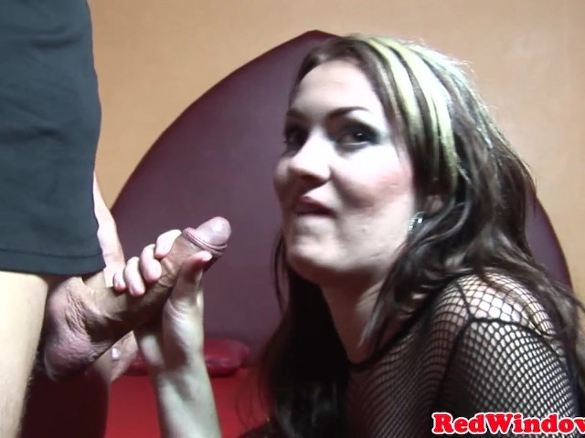 Amsterdam prostitute in nets plays with cum in mouth #1143727