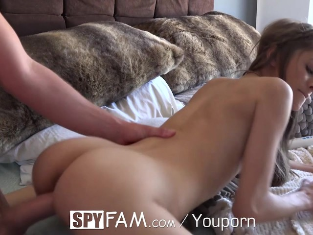 Spyfam step bro creeps on naked tanning step sister