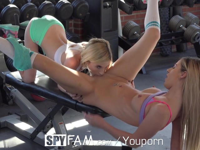 Step brother catches lesbian step sisters and joins the fun 6