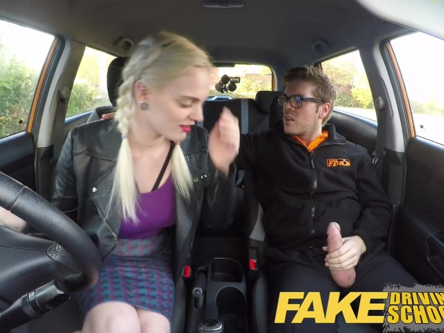 fake driving school student with big tits and hairy pussy