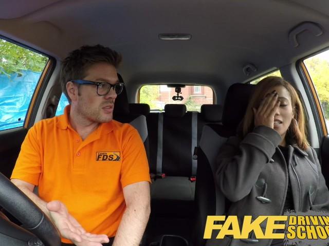 Fake Driving School Young Ebony Learner Enjoys Creampie -6593