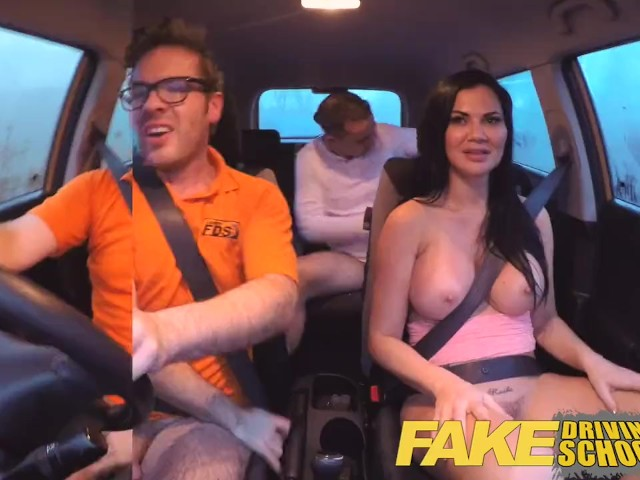 Fake driving school exam failure ends up in threesome double creampie 6