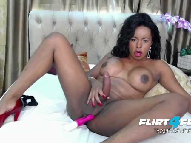 Exotic Ebony Tgirl Strokes Her BBC and Blows a Big Load