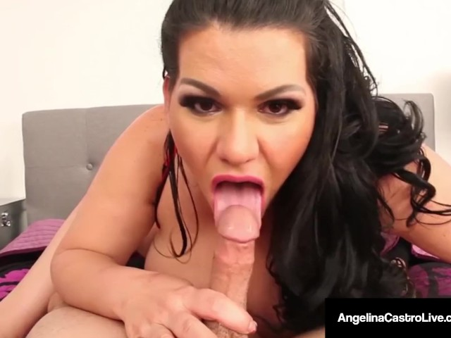 Huge Boobed Latina, Angelina Castro Strokes & Sucks a Cock!