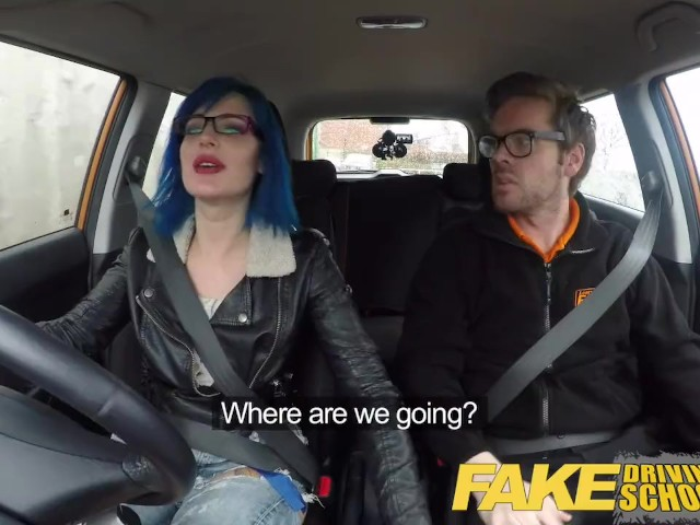 Fake driving school sexy strap on fun for new big tits driver 3