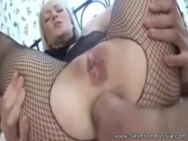 Fishnet Anal Blonde Russian Teen Loves Extreme Anal -2114