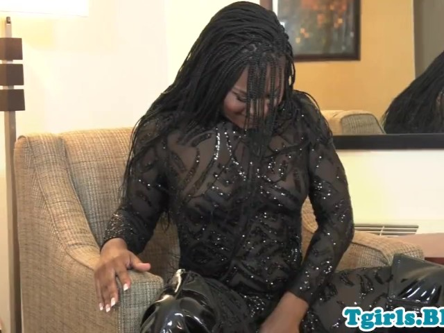 Kinky ebony trans strips and jerks off solo