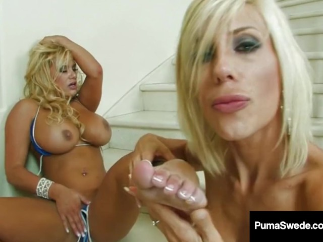 European blonde puma swede fucks pussy with glass dildo