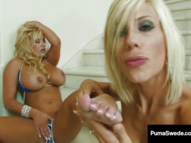 image European blonde puma swede fucks pussy with glass dildo