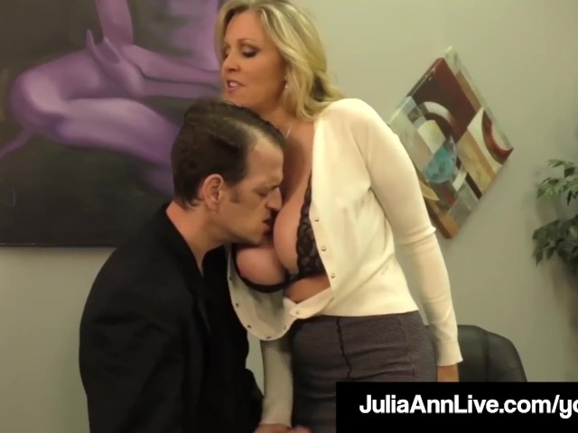 Adult award winner julia ann drains a cock with hot handjob 5