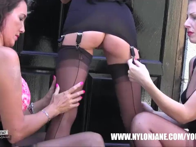 Lesbian Milf sluts smoke tease lick masturbate in sexy nylon stockings lingerie and high heels #1135368