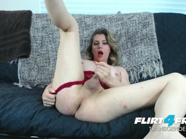Flirt4free trans model linda ashley has fun dressing up then blowing a load 4