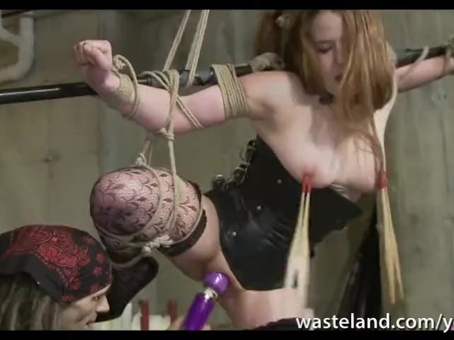 Bound and Hanging Submissive Auburn Haired Babe Dominated in Funkadelic Disco Vibrator and Dildo Action #1155797